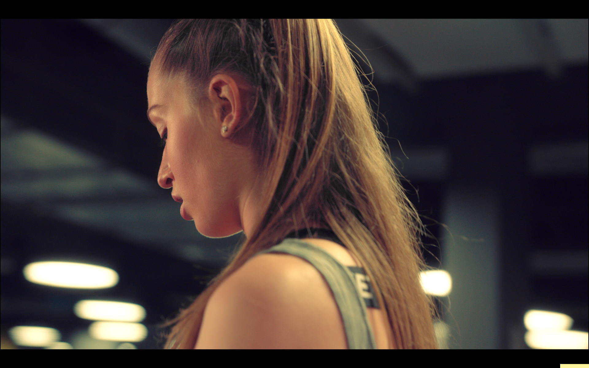 Commercial for gatorade. Jordyn Huitema working out in a gym